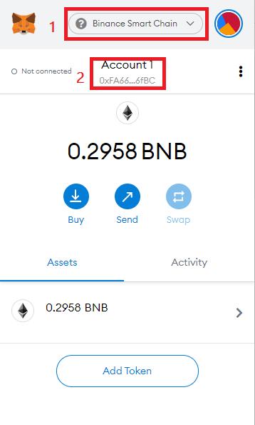 copy BNB address on MetaMask