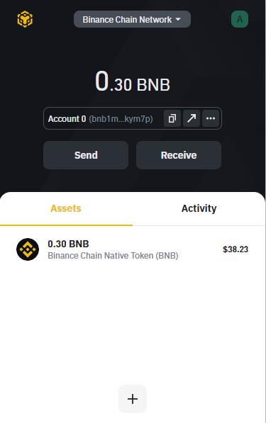 receive funds in BNB wallet