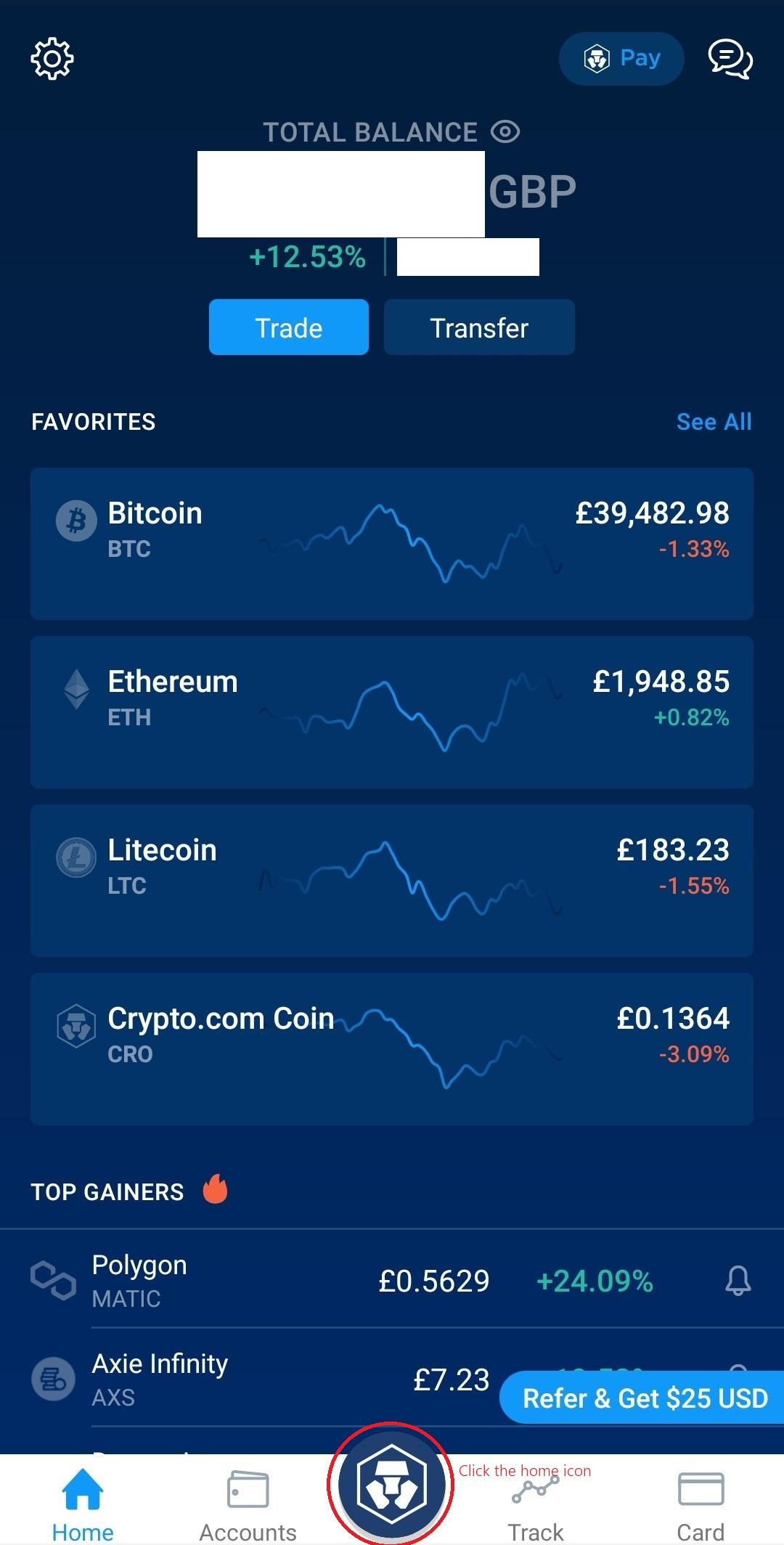 Crypto.com App Home page
