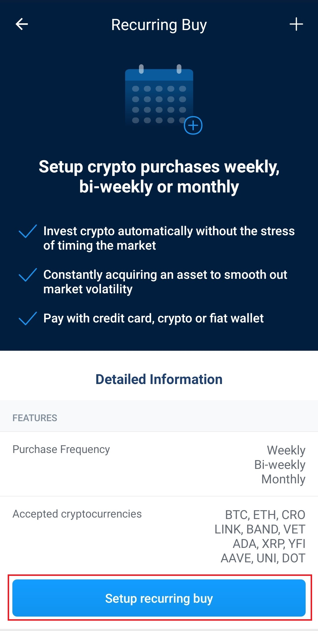 Recurring buy crypto.com